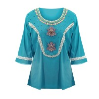 Embroidered Round Neck Loose Plus Size Women Top - Green