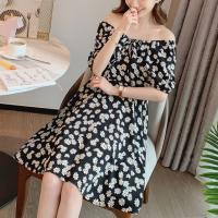 Printed Floral Women Fashion Summer Wear Dress - Black