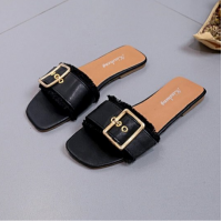 Tassel Buckle Party Wear Flat Slippers - Black