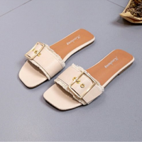 Tassel Buckle Party Wear Flat Slippers - Apricot
