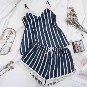 Striped Prints Two Pieces Women Wear Nightwear Lingerie Set - Blue
