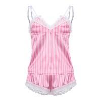 Striped Prints Two Pieces Nightwear Women Sleepwear Lingerie Set - Pink