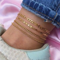 Multi Layered Gold Plated Women Fashion Anklets Set
