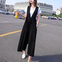 Casual Summer Vintage Fashion Bib Pants - Black