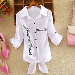 Shirt Collar Text Prints Summer Wear Outwear Shirt - White