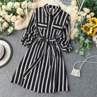 Striped Contrast Fancy Summer Wear Casual Dress - Black