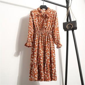Floral Prints Summer Wear Women Fashion Dress - Light Orange