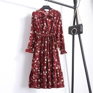 Printed Floral Frilled Hem Summer Wear Mini Dress - Burnt Red