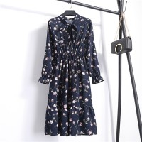 Printed Floral Frilled Hem Summer Wear Mini Dress -Blue Ash