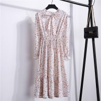 Printed Floral Frilled Hem Summer Wear Muslim Dress - White Smoke