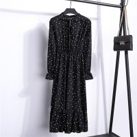 Polka Dots Frilled Hem Printed Summer Wear Muslim Dress - Soft Black