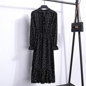 Hearts Print Frilled Hem Printed Summer Wear Muslim Dress - Soft Black