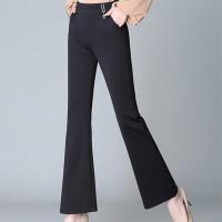 Bell Bottom Slim Fit Solid Color Formal Pants - Black