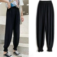 Pleated Toe Length Elastic Waist Casual Trousers - Black