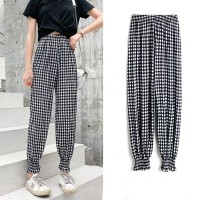 Pleated Toe Length Elastic Waist Casual Trousers - Black And White