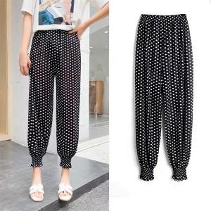 Polka Dots Printed Toe Length Elastic Waist Casual Trousers - Black