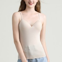 Spaghetti Strapped Slim Padded Inner Bust Camisole Bra - Apricot