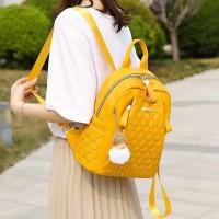 Rivets Decorative Zipper Closure Women Backpacks - Yellow