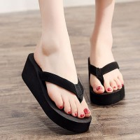 Flip Flop Solid Color Thick Sole Summer Wear Slippers - Black