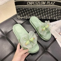 Thick Bottom Bow Fashion Women Slippers - Green