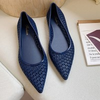 Pointed Hollow Design Flat Shoes for Women - Blue