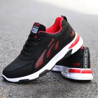 Mesh Pattern Lace up Sport Running Sneakers - Black Red