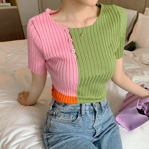 Button Ribbed Design Round Neck Casual Wear Women Top - Green