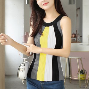 Ribbed Off Shoulder Halter Neck Fashion Casual Wear Top - Yellow