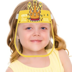 Printed Transparent With Elastic Band Kids Safety Face Shield - Orange