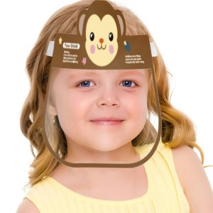 Cartoon Printed Transparent Face Cover Kids Face Shield - Brown