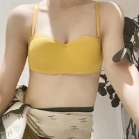 Attractive Padded Detachable Strap Sexy Women Bra - Yellow