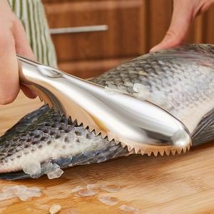 Stainless Steel Fish Scaler Skin Scraper Kitchen Tool - Silver