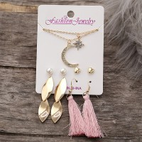 Four Pairs Party Fashion Ear Tops With Neck Chain Pendant Multi Color