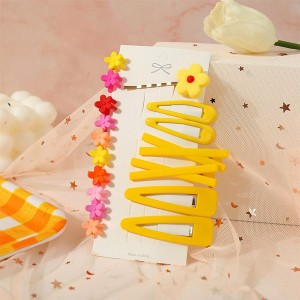 Floral Women Hair Grooming Clips Set - Yellow