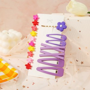 Floral Women Hair Grooming Clips Set - Purple