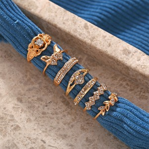 Decorated With Crystal Gold Plated Joints Rings Set For Women