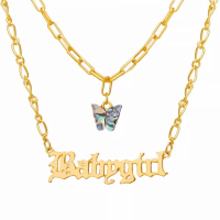 Trendy Alphabetic Butterfly Design Necklace - Multi Color