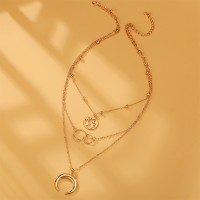 Gold Plated Multi Layered Moon Fashion Necklace For Women - Golden