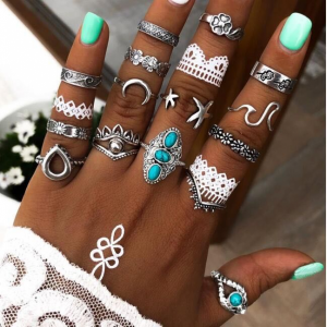 Turquoise Fashion Silver Plated 15 Pieces Rings Set - Silver