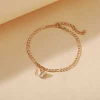 Braid Dangle Butterfly Fashion Anklets For Women - Golden