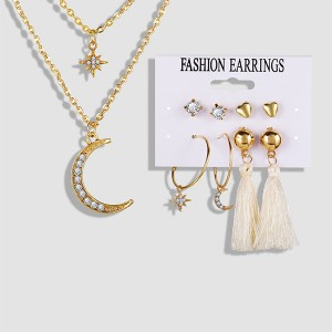 Star Moon Design 2 Pair Stud With Necklace Earrings Set - Golden