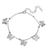 Dangle Butterfly Style Gold Plated Anklet For Women - Silver