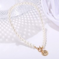 Attractive Decorated With Pearls Women Necklace - White
