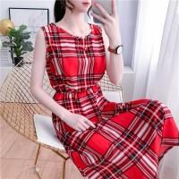 Check Prints Round Neck Sleeveless Summer Mini Dress - Red