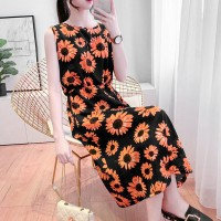 Sun Flower Prints Round Neck Sleeveless Summer Mini Dress