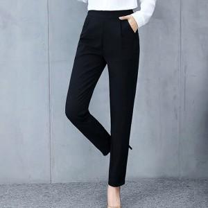 Pleated Narrow Bottom Plain Formal Wear Pants - Black