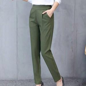 Pleated Narrow Bottom Plain Formal Wear Trouser Pants - Green