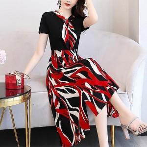 Digital Prints Women Fashion Short Sleeves Dress - Red