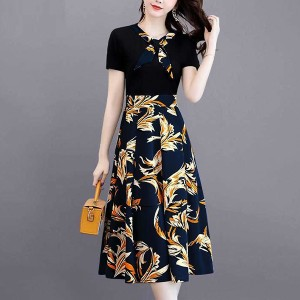 Floral Printed Round Neck Short Sleeves A-Line Dress