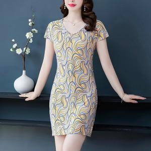 Round Neck Short Sleeves Summer Wear Bodycon Mini Dress - Yellow